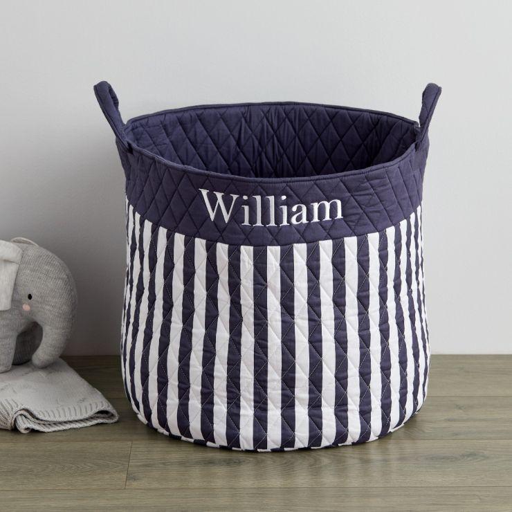 Personalised Large Navy Stripe Storage Bag