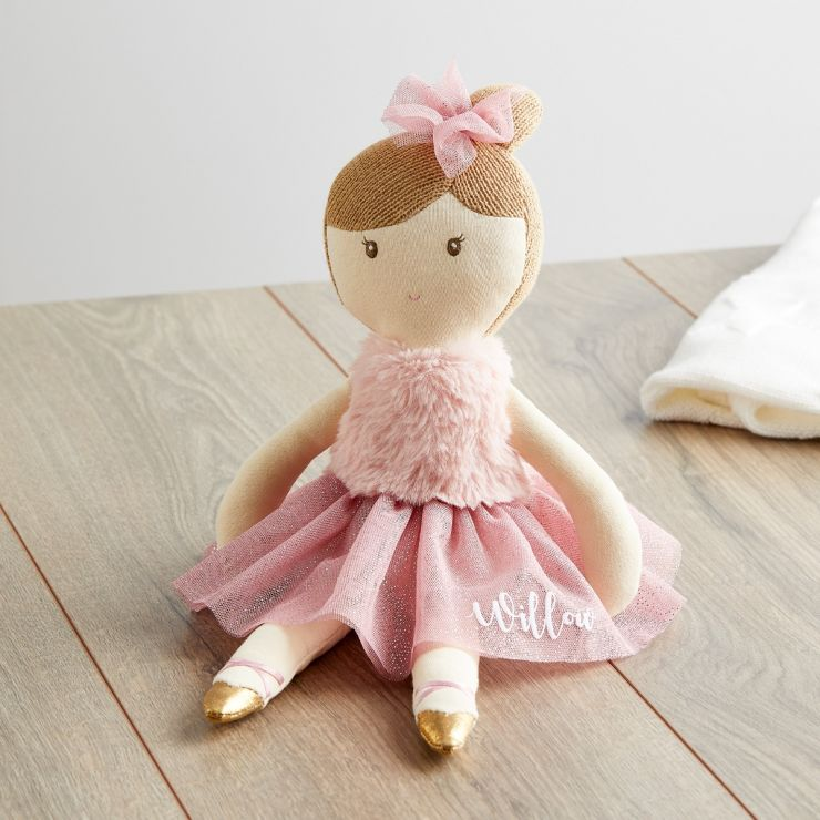Personalised Ballerina Doll in Dark Pink Dress