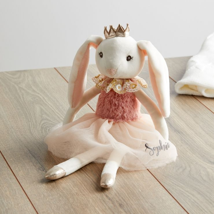 Personalised Princess Bunny Doll in Pink Dress