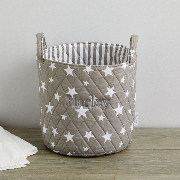 Personalised Medium Grey Star Storage Bag