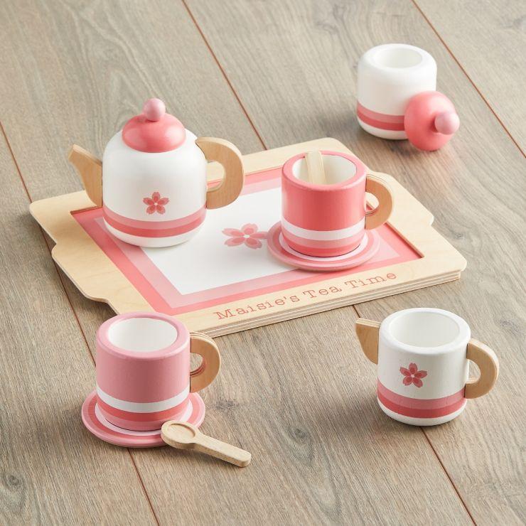 Personalised Pink Wooden Tea Set