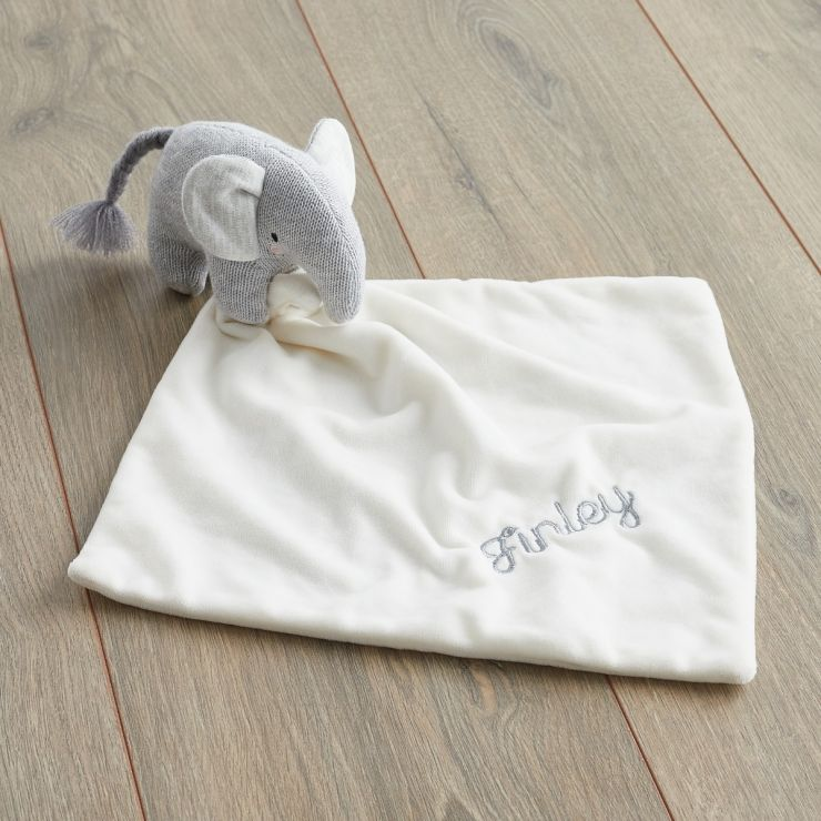 Personalised Grey Knitted Elephant Comforter