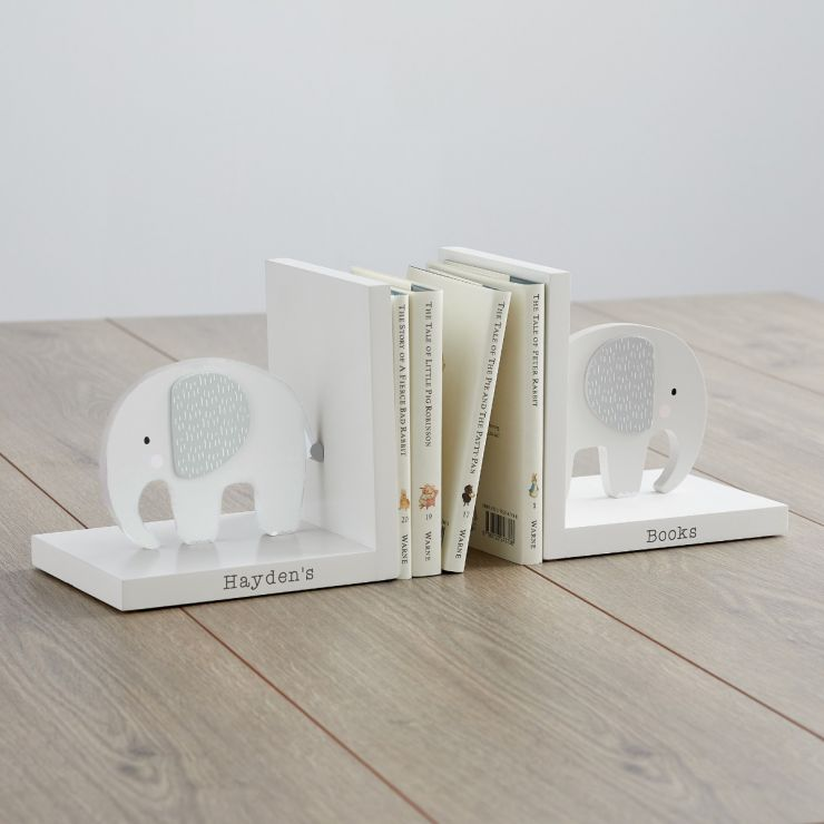Personalised Grey Elephant Bookends Main