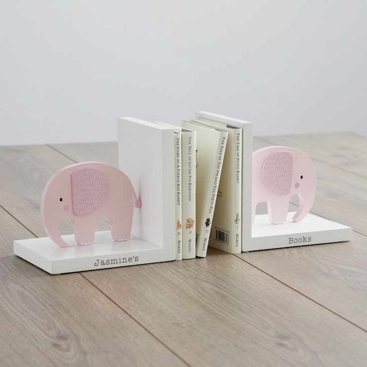 Personalised Pink Elephant Bookends Main