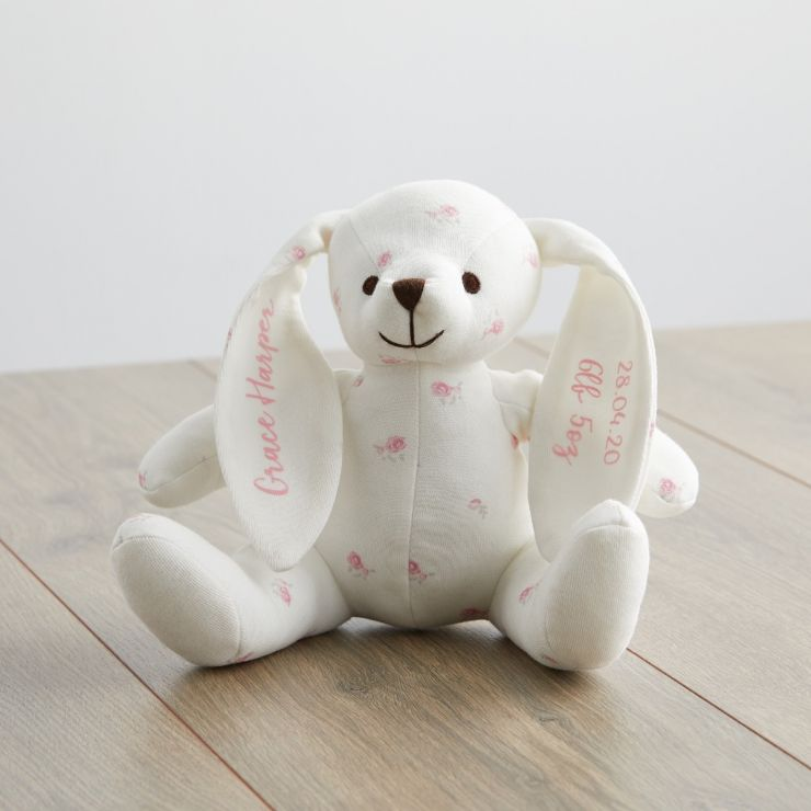 Personalised Floral Print Organic Bunny Soft Toy