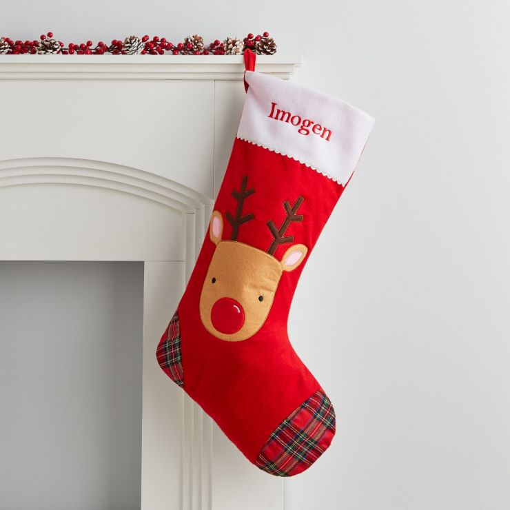 Personalised Large Fleece Reindeer Stocking