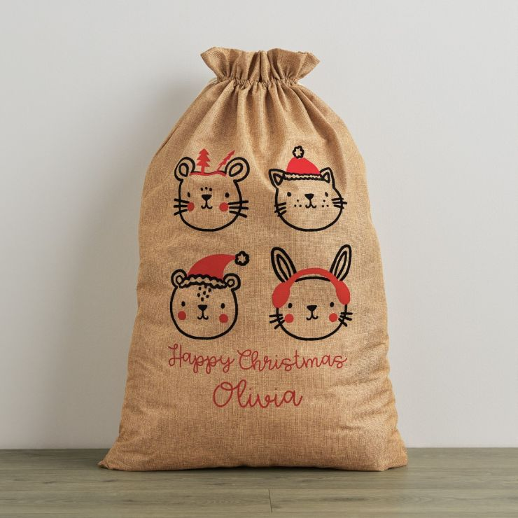 Personalised Festive Animal Hessian Christmas Sack
