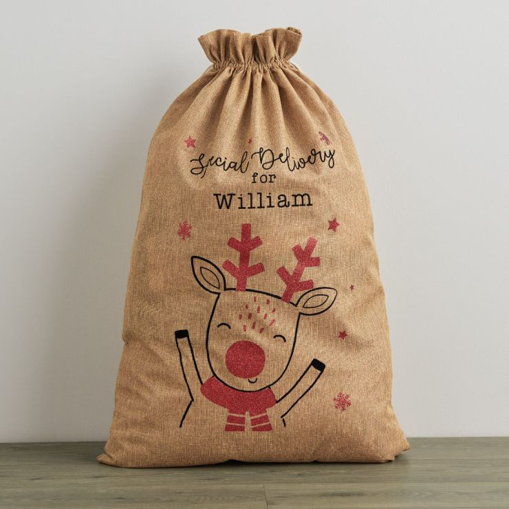 Personalised Special Delivery Hessian Christmas Sack