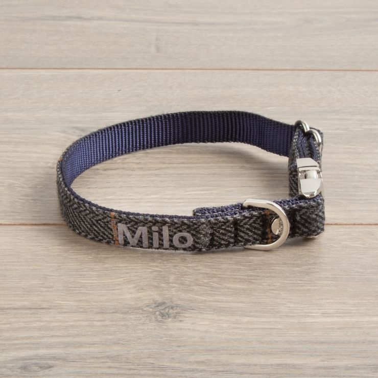 Personalised Tweed Dog Collar - Dark Grey