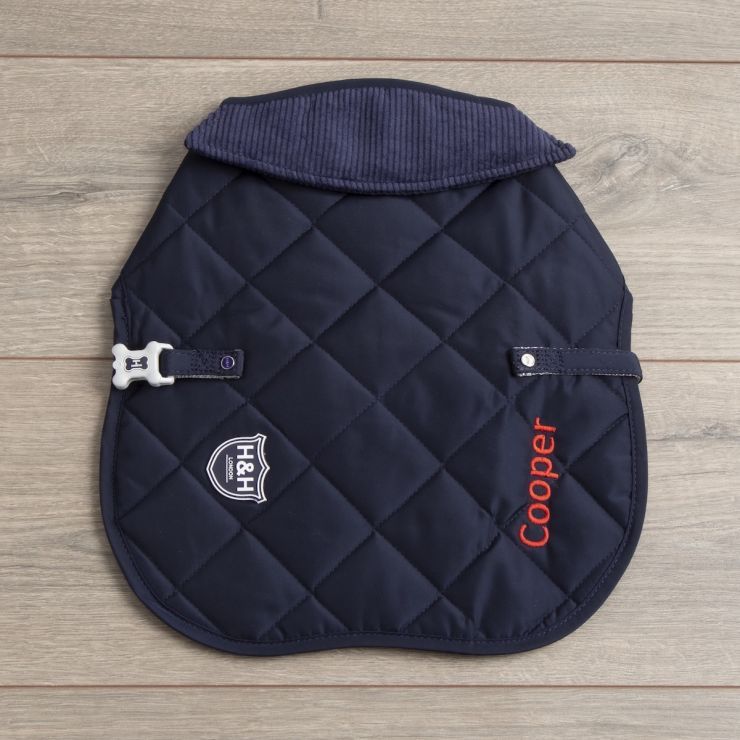 Personalised Quilted Dog Coat - Navy