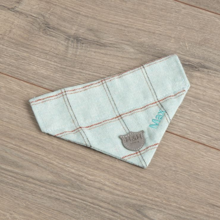 Personalised Tweed Pet Neckerchief - Aqua