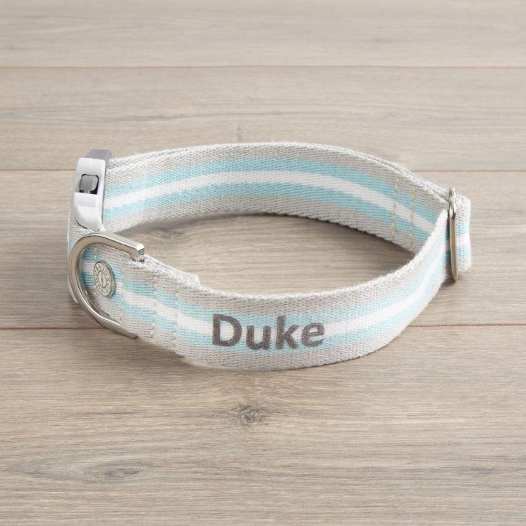 Personalised Stripe Dog Collar - Aqua