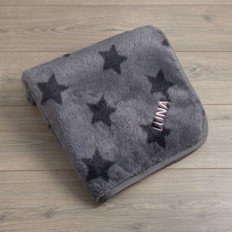 Personalised Grey Star Fleece Pet Blanket