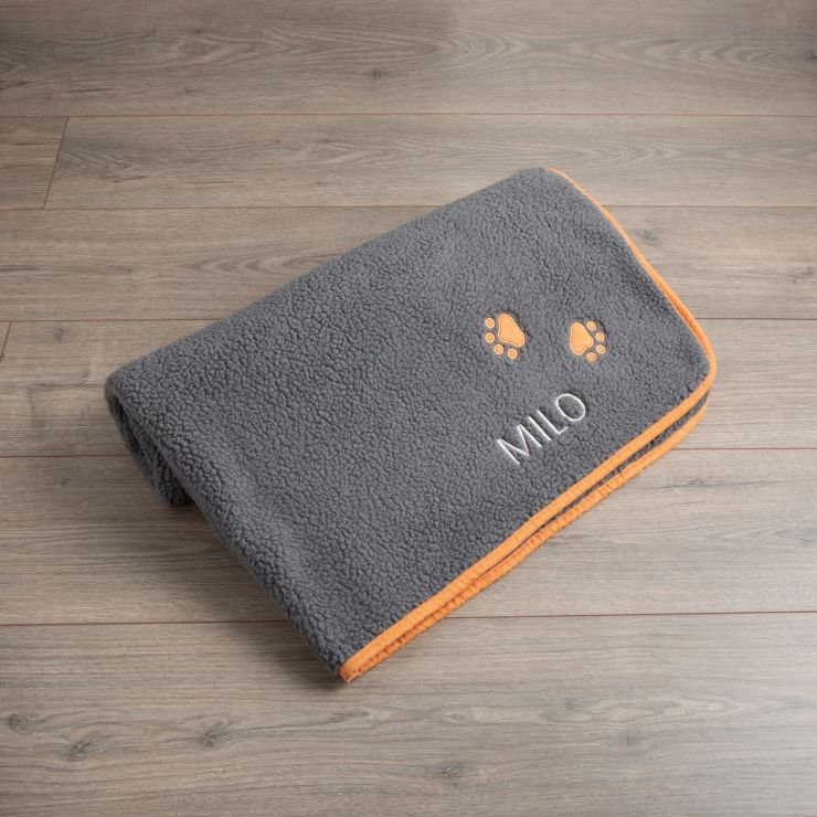 Personalised Dark Grey Paw Pet Blanket