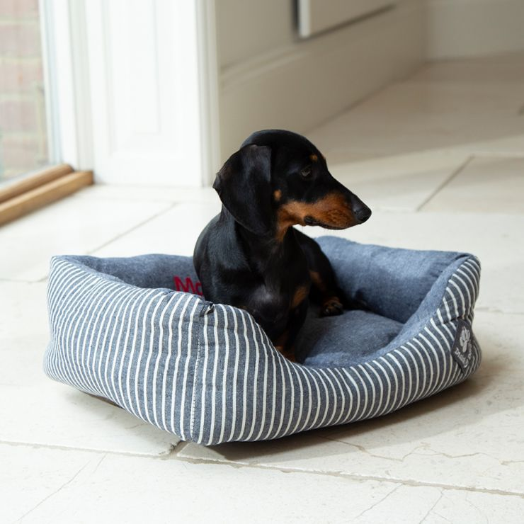 Personalised Maritime Stripe Pet Basket Bed - Model