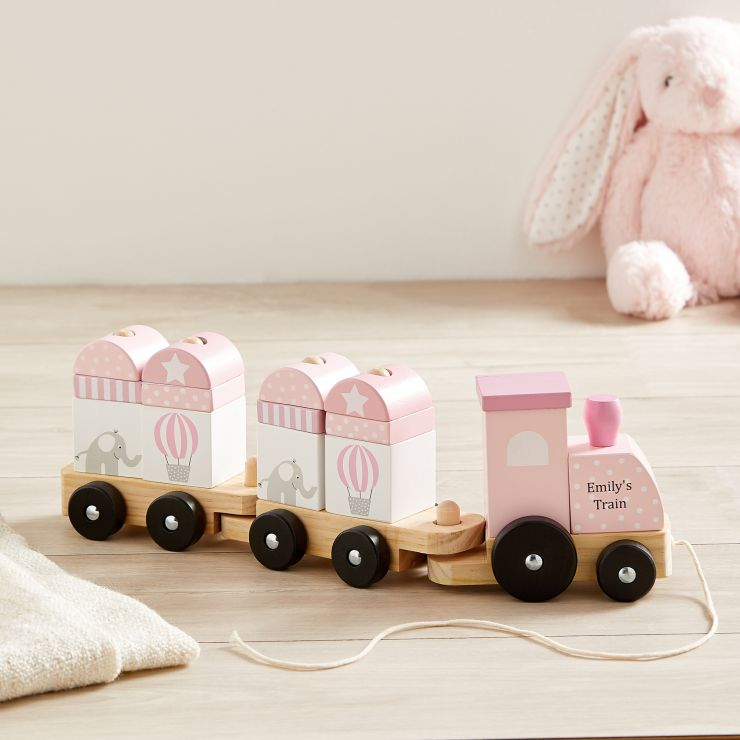 Personalised Pink Pull Along Train Wooden Toy