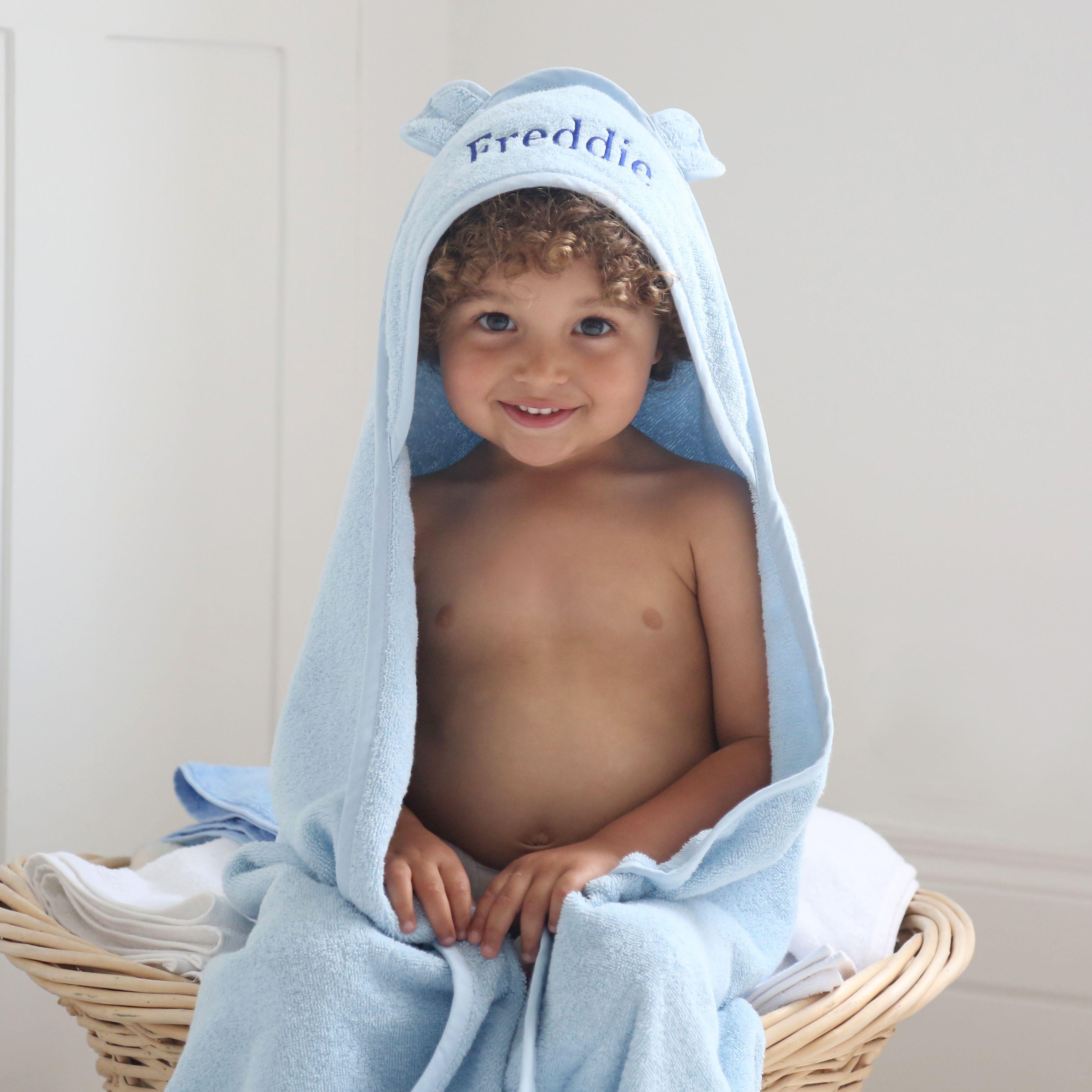 Personalised Large Blue Hooded Bath Towel