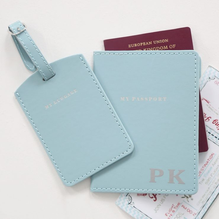 Personalised Passport Holder & Luggage Tag - Blue