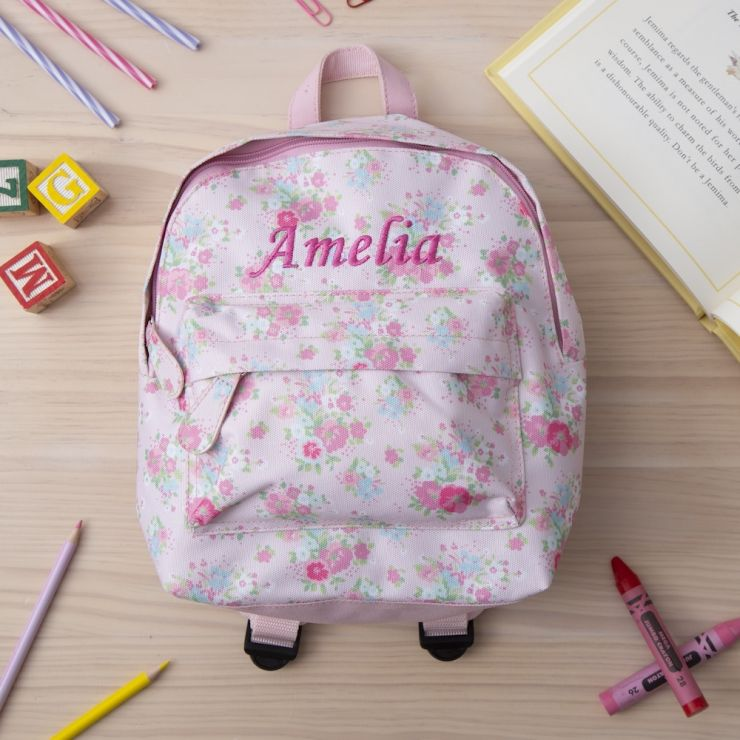 Personalised Pink Floral Mini Backpack