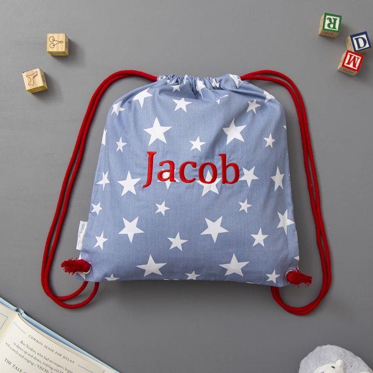 Personalised Navy Star Print Drawstring Bag