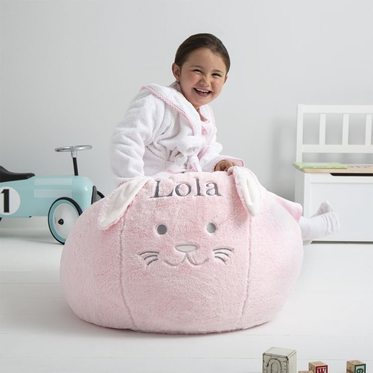 Personalised Children's Pink Bunny Beanbag