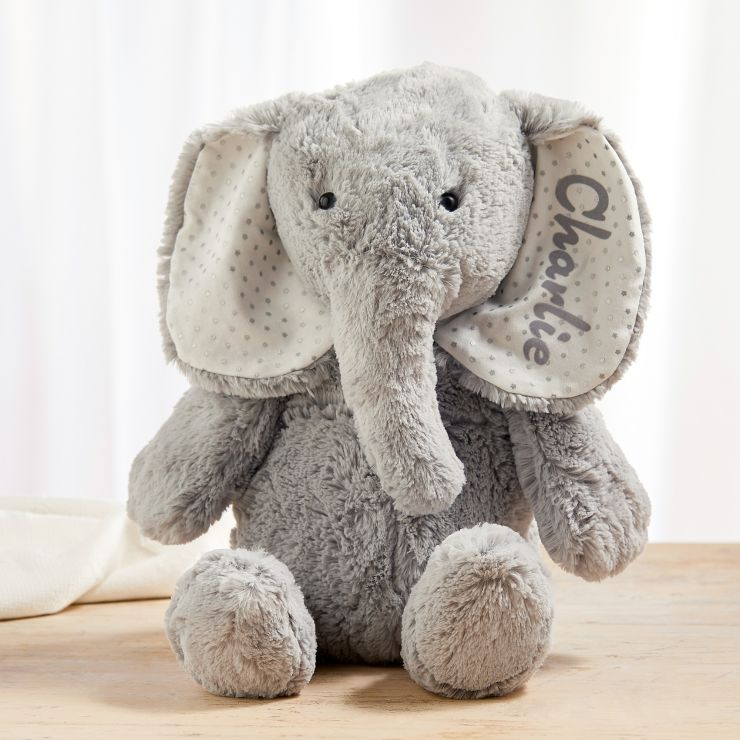 Personalised Large Grey Elephant Soft Toy
