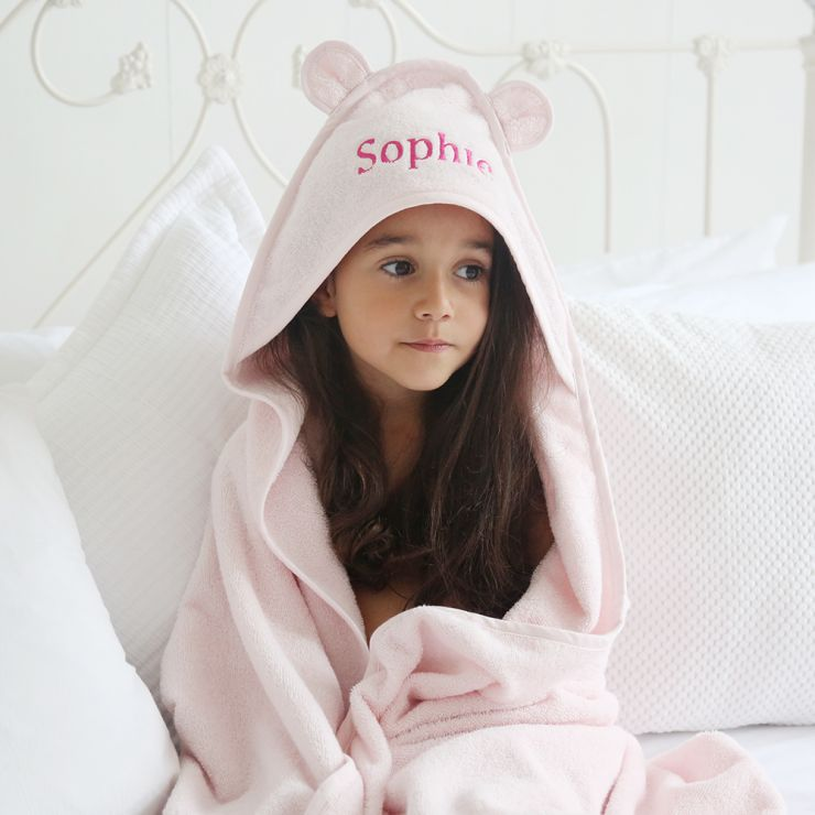 Personalised Large Pink Hooded Bath Towel