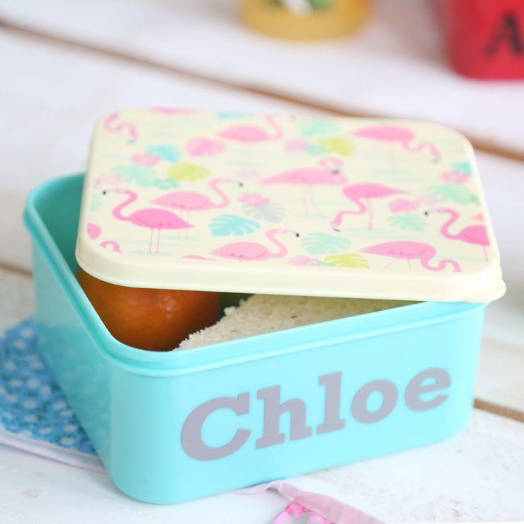 Personalised Flamingo Print Mini Lunchbox
