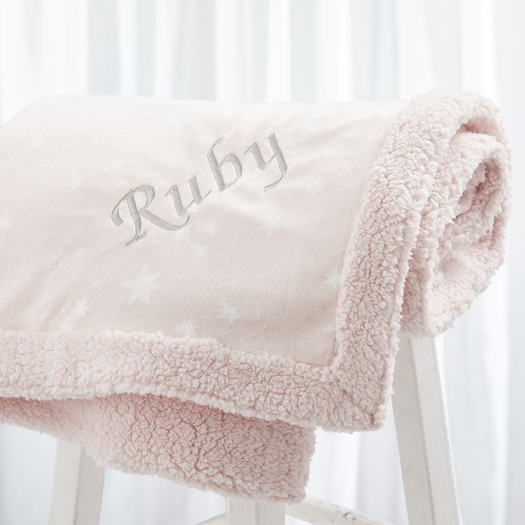 Personalised Luxury Pink Star Print Blanket