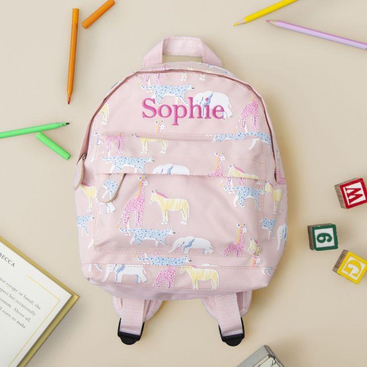 Personalised Safari Animal Print Mini Backpack