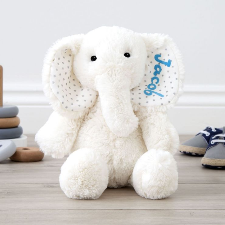 Personalised White Elephant Soft Toy