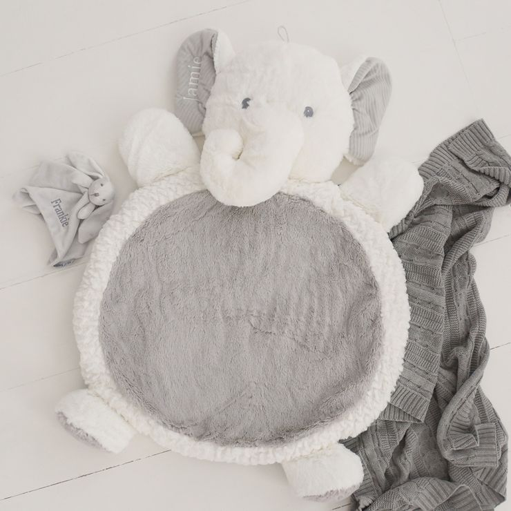 Personalised Elephant Playmat - White