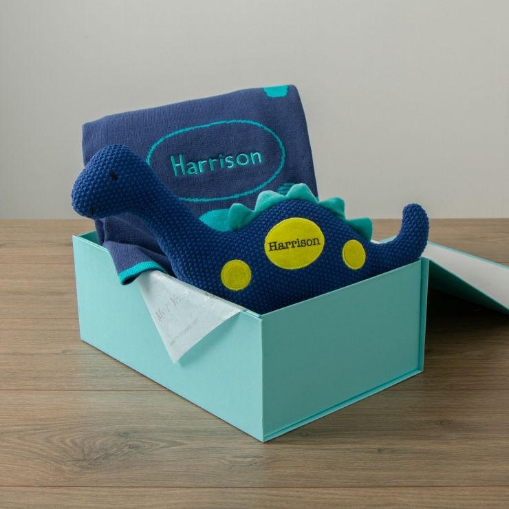 Personalised Blue Dinosaur Knitted Gift Set