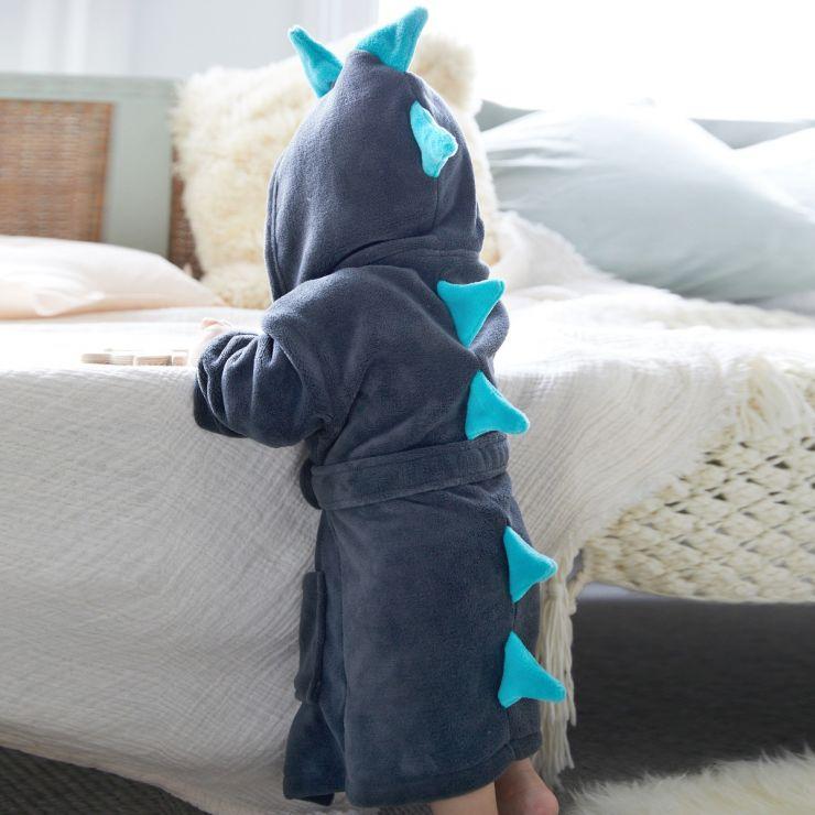 Personalised Grey Dinosaur Robe