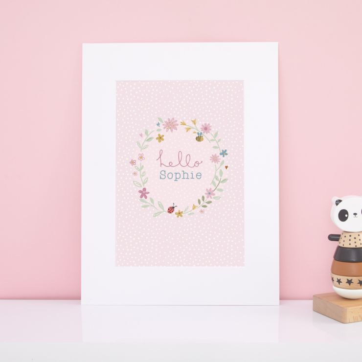 Personalised Woodland Tales Design Floral Wall Art