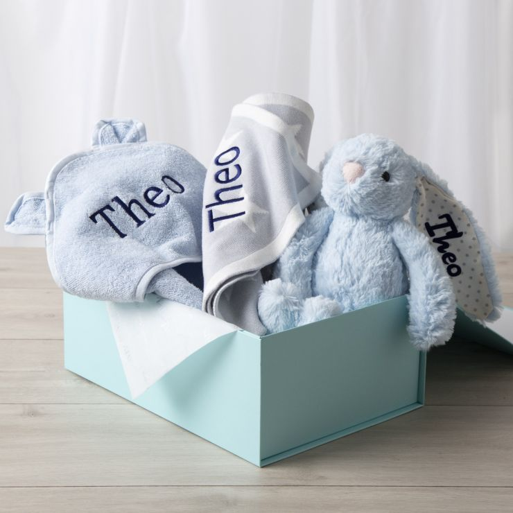 Personalised New Baby Essentials Gift Set - Blue
