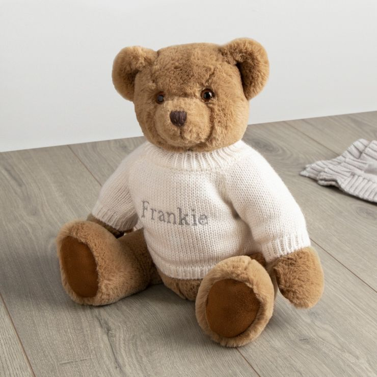 Personalised Traditional Brown Bear with Cream Jumper