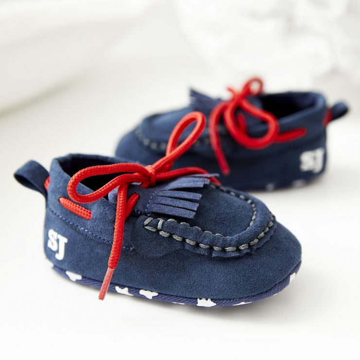 Monogrammed Navy Blue Loafer Pram Shoes