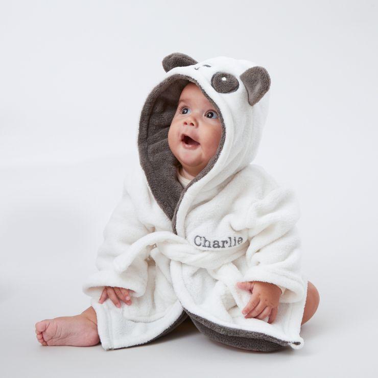 Personalised Monochrome Panda Robe Model