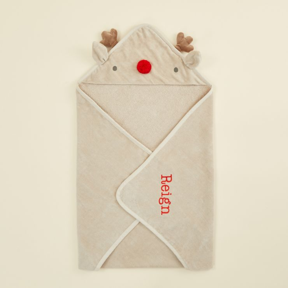 Personalised Reindeer Hooded Towel with Red Nose