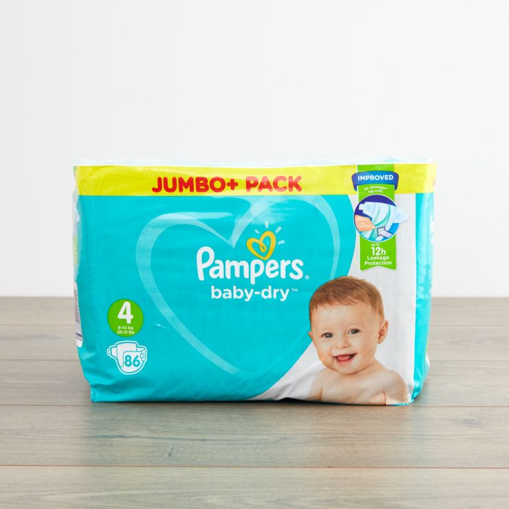 Pampers Size 4 Baby Dry Nappies (Jumbo Pack 86s)