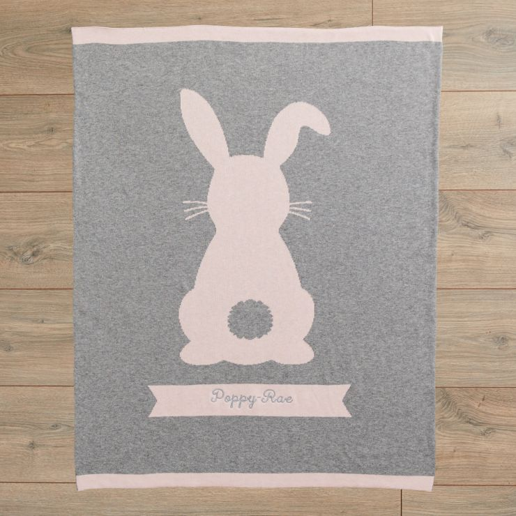 Personalised Pink Bunny Knitted Intarsia Blanket Flat View