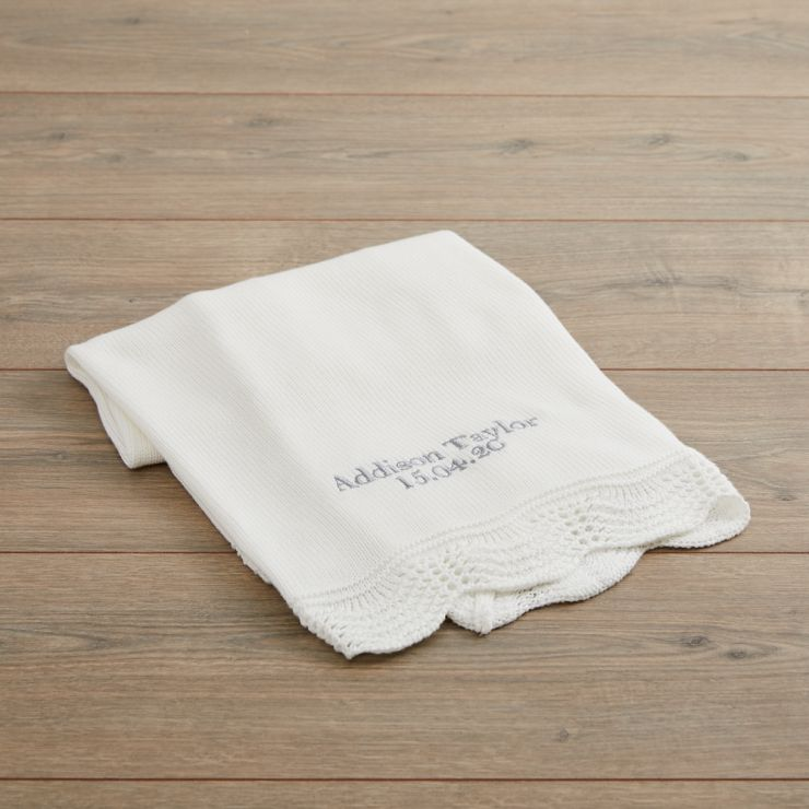 Personalised Cream Christening Blanket