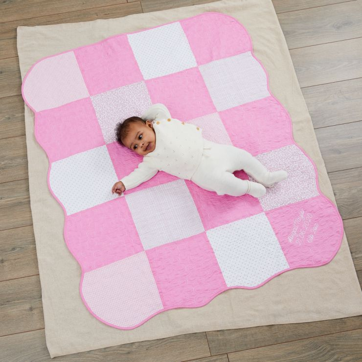 Personalised Pink Patchwork Quilt Model