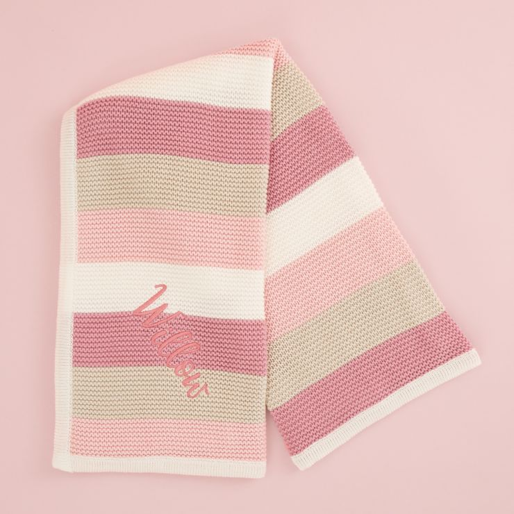 Personalised Pink Stripe Knitted Blanket