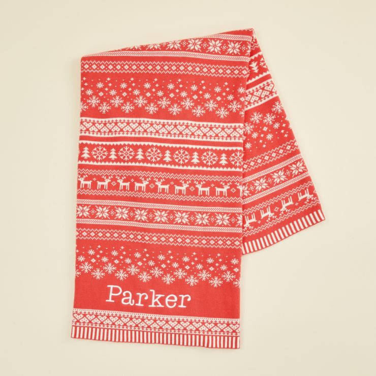 Personalised Red Fairisle Christmas Blanket