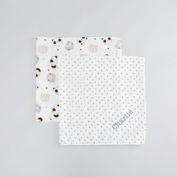 Personalised Monochrome Bamboo Muslin Swaddle Blankets (2pk)