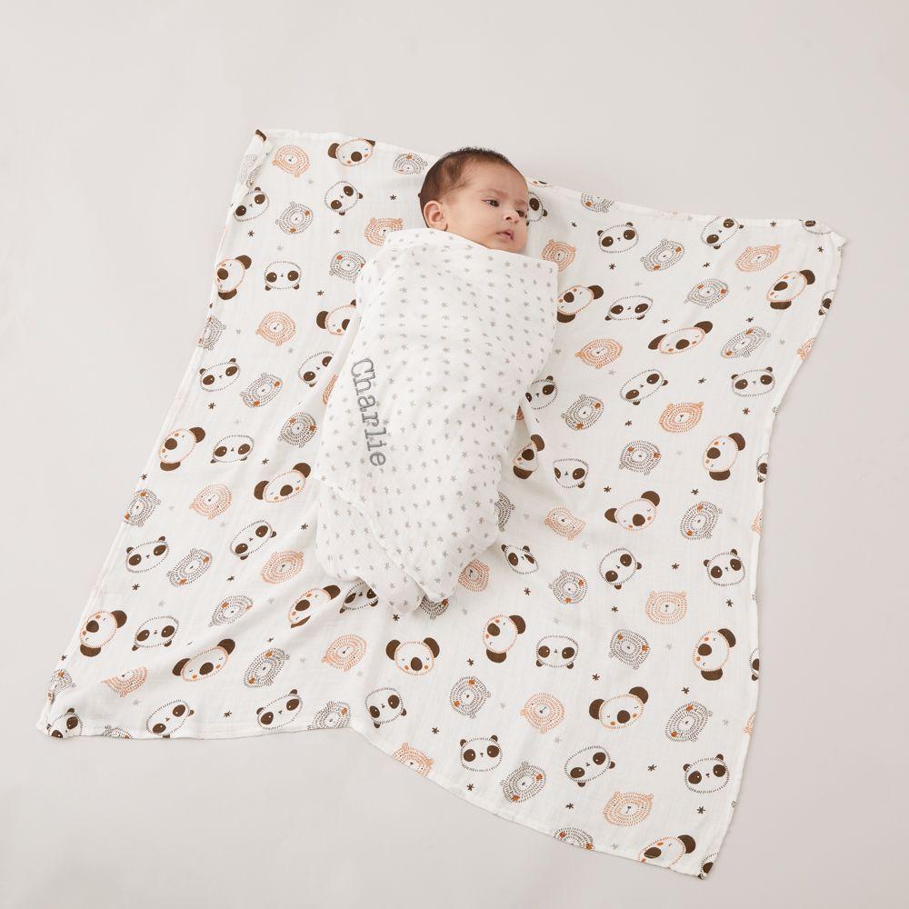 Personalised Monochrome Bamboo Muslin Swaddle Blankets (2pk) Model