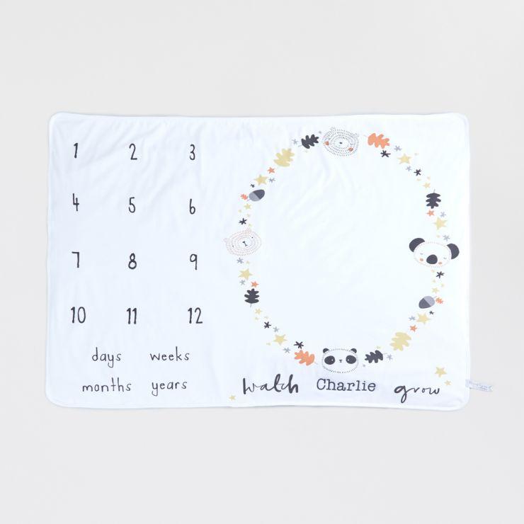 Personalised Monochrome Baby Milestone Blanket Flat