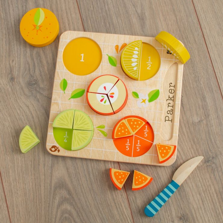 Personalised Tenderleaf Wooden Citrus Fraction Puzzle Toy